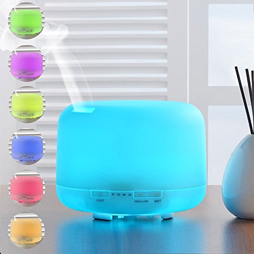 500ml Essential Oil Diffuser for Aromatherapy - AOTOSOLO Cool Mist Air Humidifier with 7 Color LED Lights Changing and Waterless Auto Shut-off - Great for Home Office or - Classroom Diffuser