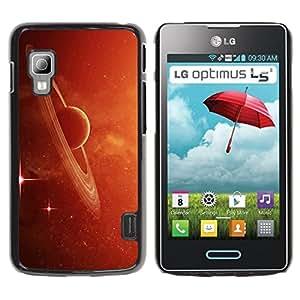 Qstar Arte & diseño plástico duro Fundas Cover Cubre Hard Case Cover para LG Optimus L5 II Dual E455 / E460 / Optimus Duet ( Saturn Rings Red Galaxy Star Cluster Dust Planet)