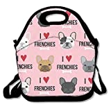 I Love French Bulldogs Lunch Bag Lunch Tote Lunch Pouch Handbag Made For Women, Men And Kids