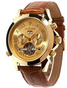 Yves Camani Yc1020-A - Reloj de cuarzo para hombres, con correa de cuero de color marrón, esfera dorada