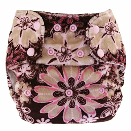 Blueberry Minky - Pañal lavable de tela suave (talla única), diseño de flores