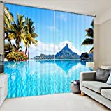 LB Teen Kids Room Décor Fascinating Scenery Blackout Curtains,Tropical Beach Scene 3D Effect Print Window Treatment Living Room Bedroom Window Drapes 2 Panels Set,80W x 84 Inches