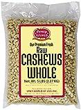 Spicy World Bulk Raw Natural Whole Cashews, 5 Pound