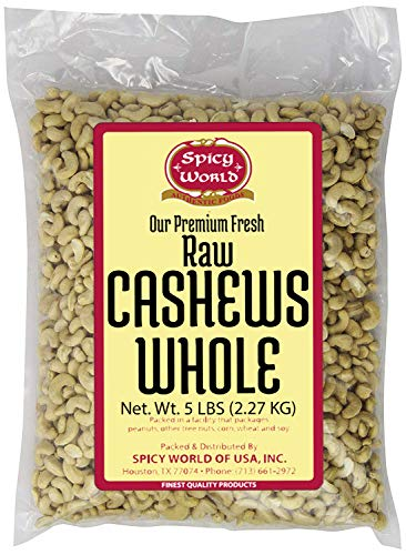 (Spicy World Bulk Raw Natural Whole Cashews, 5 Pound)
