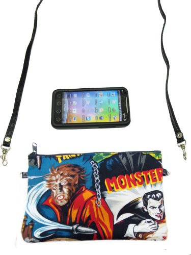 US Handmade Fashion CELL PHONE CASE, DIGITAL CAMERA BAG, WEREWOLF MONSTERS Rockabilly Halloween Pattern Shoulder Bag US Handmade Cross Body Bag Handbag Purse Robert Kaufman Cotton Fabric, CLPB -