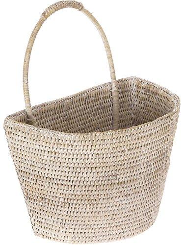 KOUBOO 1060073 La Jolla Rattan Wall Basket, Large, White Wash, 13