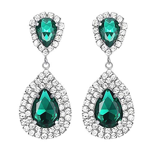 (Les Bohémiens Rhinestone Crystal Silver Dangle Teardrop Earrings in Emerald Green Sapphire Blue and Champagne Yellow (Emerald Green, Clip-On))