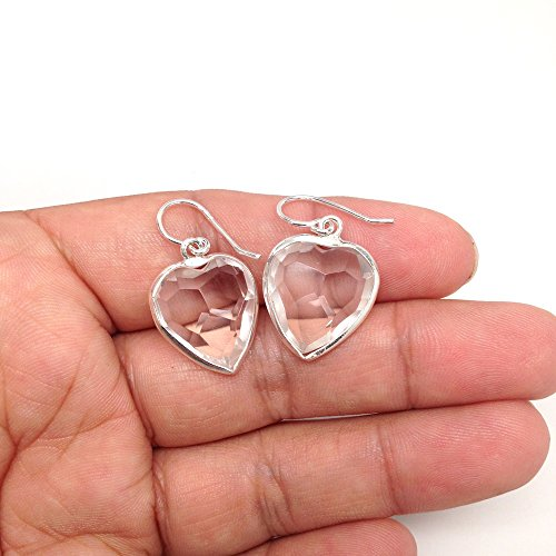 Facetted Heart - 32 cts Gorgeous Facetted Crystal Heart Shape Earrings Sterling Silver Handmade from Brazil, Buyer Will Receive Exact Item Pictured, E090A
