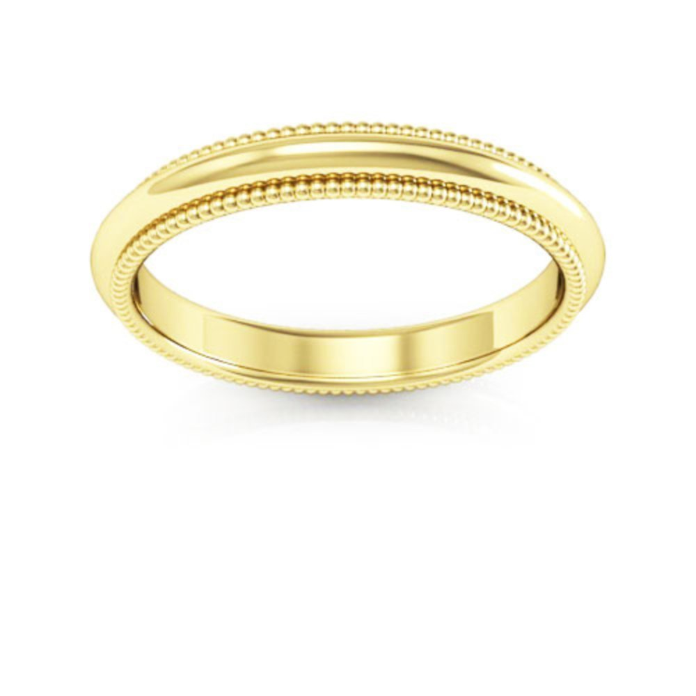 18k Yellow Gold mens and womens plain wedding bands 3mm milgrain comfort fit