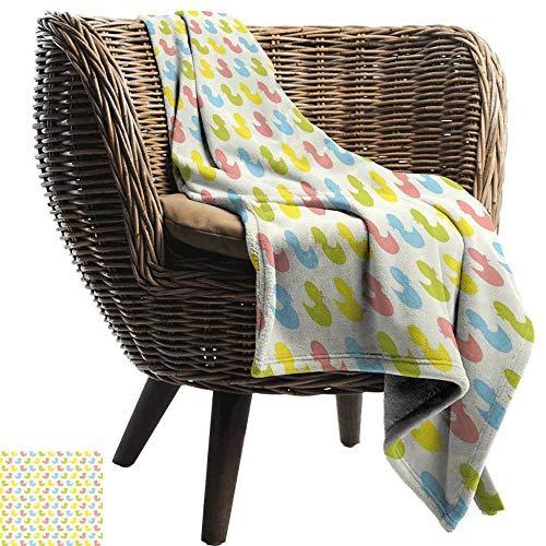 (Fleece Blanket Throw Rubber Duck Colorful Ducklings Baby Animals Theme Pastel Girls Boys Newborn Bedding Throw, or Blanket Sheet 60