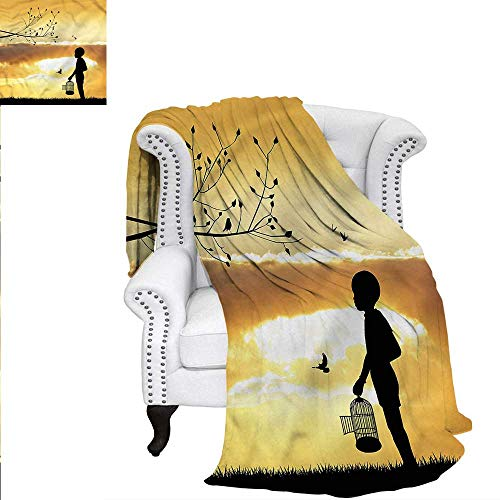 RenteriaDecor Nature Flannel Blanket Child with a Bird Cage Weave PatternBlanket 90