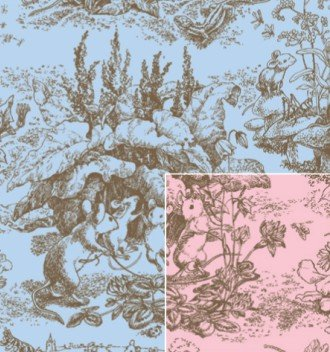 Baby Toile Reversible Gift Wrap Roll 24