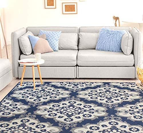 HOMEGNOME Patio Collection Indoor Outdoor Stain Resistant Panel Rug 8 x10 , Navy Blue