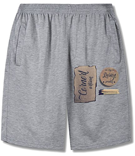 Ancient Words Written With Matches Quaint Shorts For mens gray ()