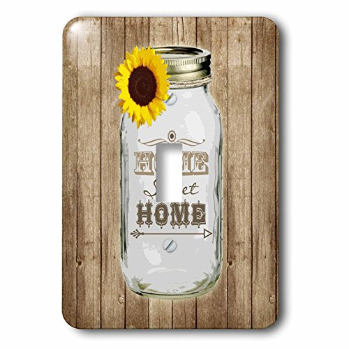 3dRose LLC lsp_128555_1 Country Rustic Mason Jar with Sunflowerm Home