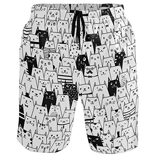 visesunny Funny White and Black Cat Men's Beach Shorts Summer Swim Trunks Sports Running Bathing Suits with Mesh Lining]()