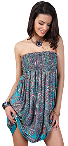 Dress Suit out Newbely bandeau Bathing Women Cover Short Ups Bohemia Green Low Beach Sleeves HS4qSzg