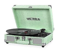 Victrola Vintage 3-Speed Bluetooth Suitcase Turntable with Speakers, Black