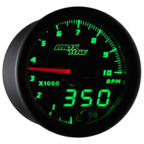 MaxTow Double Vision 10,000 RPM Tachometer Gauge - for 1-10 Cylinder Gas Powered Engines - Black Gauge Face - Green LED Illuminated Dial - Analog & Digital Readouts - 2-1/16