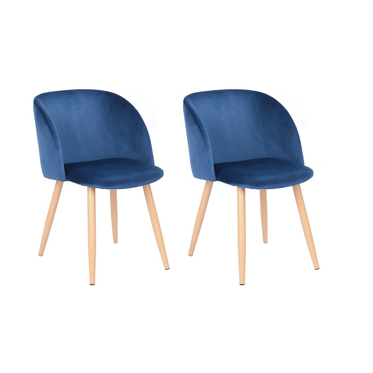 Fantastisch 2 Retro Samt Akzent Sessel Küche Stuhl Esszimmer Stühle Bürostühle Sessel  Blau