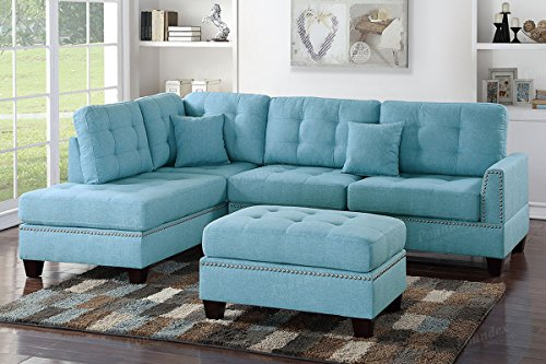 Poundex F6505 Bobkona Adolph Sofa and Loveseat, Light Blue