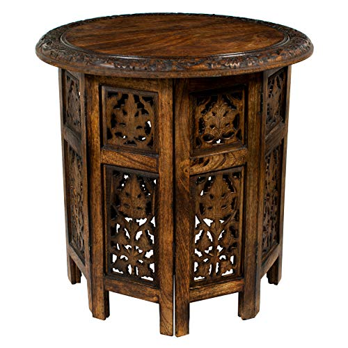 Carved Wood Accents - Cotton Craft Jaipur Solid Wood Hand Carved Accent Coffee Table - 18 Inch Round Top x 18 Inch High - Antique Brown