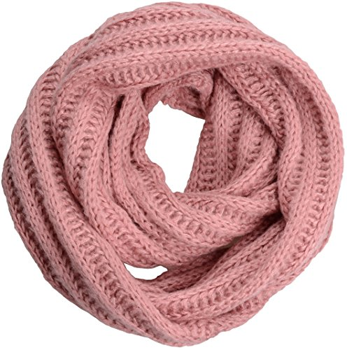(NEOSAN Women's Men Thick Winter Knitted Infinity Circle Loop Scarf ST Pink)