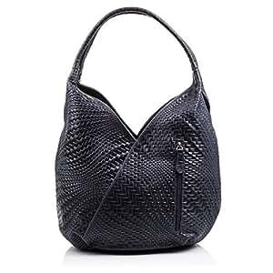 FIRENZE ARTEGIANI.Bolso shopping bag de mujer piel auténtica.Bolso cuero genuino grabado con motivo trenzado geométrico y lacado. MADE IN ITALY. VERA PELLE ITALIANA. 33x33x18 cm. Color AZUL