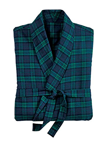 Men's Plaid Flannel Robe, Green, Size (Flannel Robe)