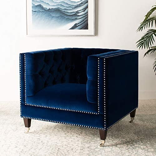 Safavieh Couture Collection Miller Navy Birch Legs Accent Chair