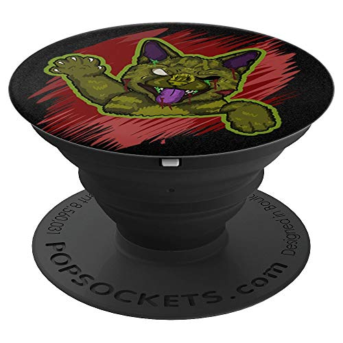 Cat Halloween Phone Holder Scary Cat Zombie Undead Gift Idea - PopSockets Grip and Stand for Phones and Tablets]()