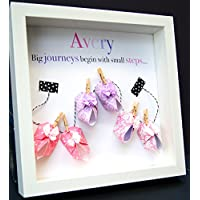 Personalized Name Paper Origami Shadowbox Frame with Baby Booties Custom Newborn Baby Shower Gift