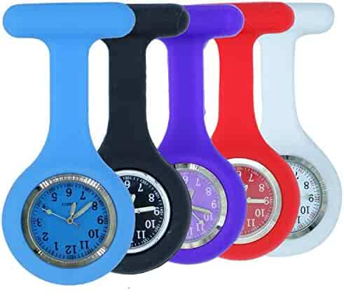 Silicone Nurse FOB Watch Lapel Pin-on Brooch Fob Watch,Pack of 5