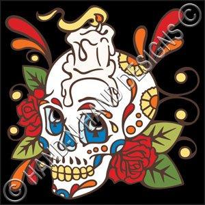 Amazon.com: 6 x 6 Tile Día de los muertos diseño de calavera ...