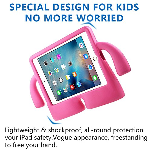 Lioeo iPad Mini Case for Kids iPad mini 4 Case with Handle Stand Shock Proof Cover Lightweight EVA Foam Protective Cases and Covers for Apple iPad Mini 4 3 2 1 7.9 inch (Hot Pink) by Lioeo (Image #3)