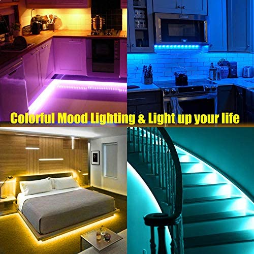 Led Strip Lights, 32.8ft Bluetooth APP Controller RGB LED Light Strip, 5050 LEDs Music Sync Color Changing LED Strip Lights Kit with Remote and 12V Power Supply for Bedroom, Room, Home Decoration