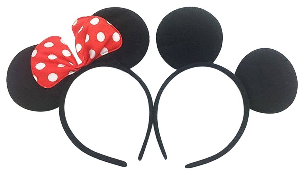 Perfec Mickey Mouse Ears Solid Black and Bow Minnie Headband For Boys and Girls Birthday Party Mom Baby Hairs Accessories Girl Headwear Party Decoration Baby Shower Halloween Set Of 2 SAA-31