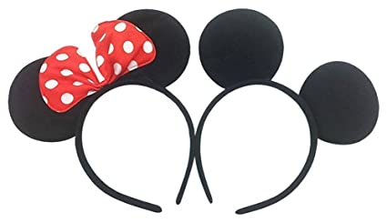 5c490ff81f2 Perfec Mickey Mouse Ears Solid Black and Bow Minnie Headband For Boys and  Girls Birthday Party