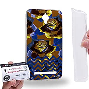 Case88 [Asus Zenfone C ZC451CG] Gel TPU Carcasa/Funda & Tarjeta de garantía - Art Drawing Fashion Floral Chevron B Art0765