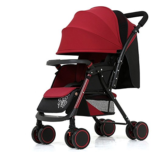 Seat Red Frame Wine Black (DACHUI Baby trolley, baby stroller, can ride can be lying light folding baby carriage, oven shocks newborn baby carriage (Color wine red))