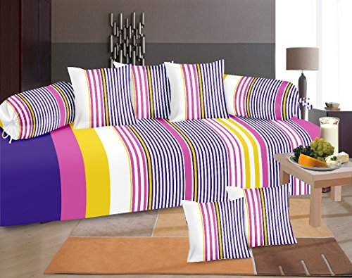 Home Elite 8 Piece 104 TC Cotton Diwan Set - Multicolour