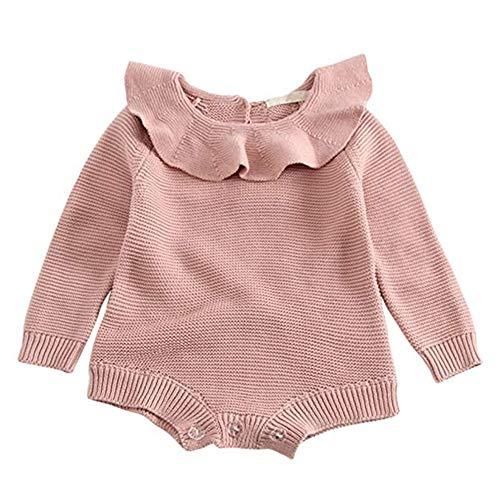 GObabyGO Baby Girls Sweet Knitted Fleece Romper Long Sleeve Ruffle Jumpsuit Sweater Dress (Pink, 6-9 Months) -