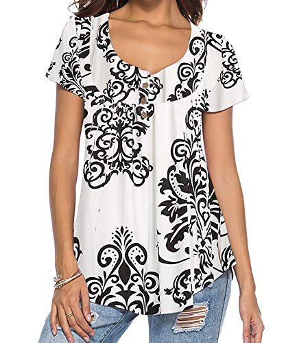 Natsuki Women's Henley V Neck Paisley Printed Pleated Tunic Blouse T Shirt XL White