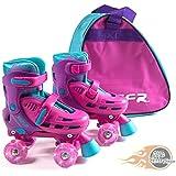 SFR Lightning Hurricane Light Up Children's Adjustable Quad Roller Skates Girls - With bag - By Oli's