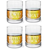 KOVOT Set of 4 Etched Whiskey Glasses