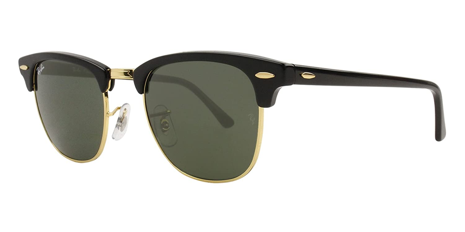 Ray Ban Rb3016 Clubmaster Sunglasses Black Gold W Gray Green Lens W0365 Rb 3016