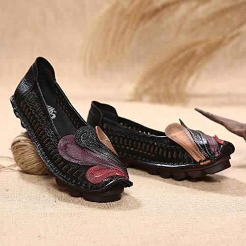 ZHRUI Phoenix Women in traspirante Flats in Women pelle scava fuori mocassini da cucire (Colore : Nero, Dimensione : EU 39)  Nero dae9fc