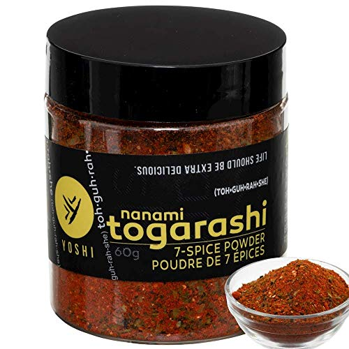 YOSHI Shichimi/Nanami 7-Spice Togarashi Dry Chili Blend Seasoning, 60g (2.12oz) | Japanese Chile Spice Blend, Use On Udon and Soba Dishes, Potatoes, Fries, Steamed Vegetables, Tuna Tartare and More
