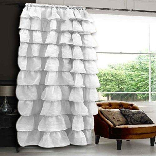 Elegant Comfort Luxury Curtain/Window Ruffled Panel 55″ X 84 inch (Set of 2), White
