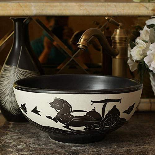 Yadianna 30CM中国芸術手作りセラミック洗面台カウンタートップのバスルーム洗濯basinbowl小さなセラミック洗面用バスルームのシンク@ only_sink